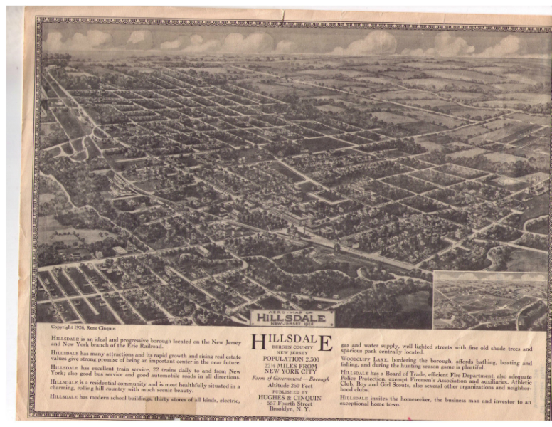 1926 Hillsdale Aerial Map